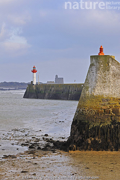 Harbour wall and lighthouse at Saint-Vaast-la-Hogue, Normandy, France, December 2008  ,  COASTS,ENGLISH CHANNEL,EUROPE,HARBOURS,LANDSCAPES,LIGHTHOUSES,NORTH SEA,QUAYS,VERTICAL,BUILDINGS  ,  Philippe Clement