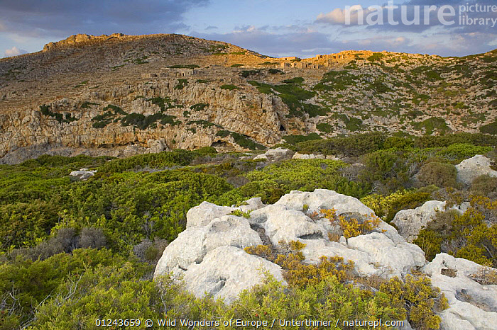 Rocky landscape with ancient ruins, evening, Antikythera island, Greece, September 2008, BUILDINGS,EUROPE,GREECE,LANDSCAPES,ROCKS,RUINS,STEFANO UNTERTHINER,WWE, Wild Wonders of Europe / Unterthiner