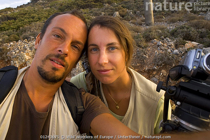 Photographer, Stefano Unterthiner, and his wife, St�phanie Francoise, on his Wild Wonders of Europe mission on Eleonora's falcons (Falco eleonorae) Greece, September 2008, CAMERAS,EUROPE,GREECE,PEOPLE,PORTRAITS,STEFANO UNTERTHINER,WWE, Wild Wonders of Europe / Unterthiner