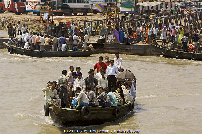 A passenger ferry / shuttle taking people across the Rupsha river at Khulna, Khulna Province, Bangladesh. March 2006, ASIA,BANGLADESH,BOATS,CROWDED,CROWDS,LANDSCAPES,PASSENGER FERRIES,PEOPLE,RIVERS,TRADITIONAL,TRANSPORT,INDIAN-SUBCONTINENT, WORKING-BOATS , WORKING-BOATS, Tim Laman