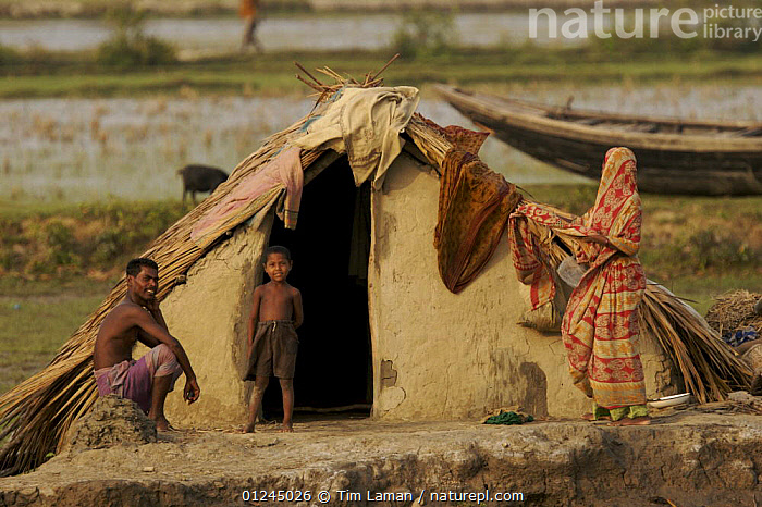 Villagers in the village of Chandpai on the Passur River, where shrimp fry fishing to supply shrimp for the shrimp ponds is the main industry. Villagers live in simple mud and thatch huts that are washed away by high waters every year. Sunderbans, Khulna Province, Bangladesh, April 2006, ASIA,BANGLADESH,BUILDINGS,COASTS,COMMERCIAL,CRUSTACEANS,HOMES,HOUSES,INVERTEBRATES,LANDSCAPES,MANGROVE,MANGROVES,MARINE,PEOPLE,RIVERS,SHRIMP FARMING,SHRIMPS,SUNDARBAN,SUNDARBANS,SUNDERBANS,TRADITIONAL,VILLAGES,INDIAN-SUBCONTINENT, Tim Laman