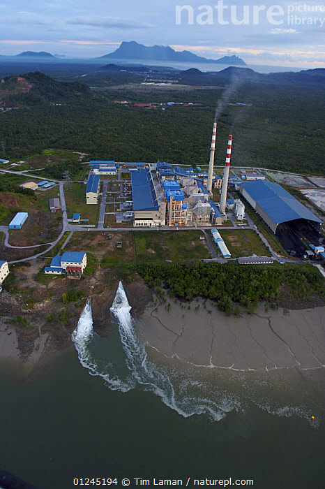 Aerial view of power plant just outside Bako National Park on the edge of mangrove forest, Kuching vicinity, Sarawak, Borneo, Malaysia, June 2006, AERIALS,BORNEO,COASTS,COMMERCIAL,DEFORESTATION,ELECTRICITY,ENERGY,ENVIRONMENTAL,LANDSCAPES,MALAYSIA,MANGROVE,MANGROVES,VERTICAL, Tim Laman