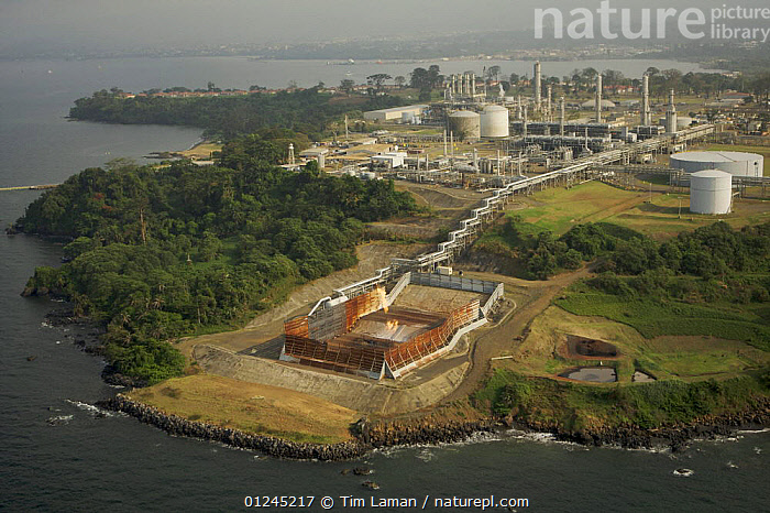 Aerial view of Oil Company facilities at Malabo, Bioko Island, Equatorial Guinea, Central Africa, January 2008, AERIALS,CENTRAL AFRICA,COASTS,CRUDE OIL,DEFORESTATION,FUEL,ILCP,INDUSTRY,LANDSCAPES,RAVE,TROPICAL RAINFOREST,Africa,WEST-AFRICA, Tim Laman
