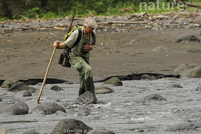 Primatologist, Tom Butynski, wading across the Rio Ole, Bioko Island, Equatorial Guinea, Rapid Assessment Visual Expedition, International League of Conservation Photographers, January 2008. Model released, CENTRAL AFRICA,ILCP,LANDSCAPES,MAN,PEOPLE,RAVE,RESEARCH,RIVERS,TROPICAL RAINFOREST,WATER,Africa,WEST-AFRICA, Tim Laman