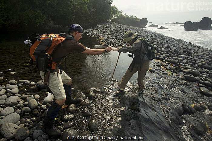 Expedition members trek along the South coast of Bioko, Equatorial Guinea, Rapid Assessment Visual Expedition, International League of Conservation Photographers, January 2008. Model released, CENTRAL AFRICA,COASTS,HIKING,ILCP,LANDSCAPES,PEOPLE,RAVE,TROPICAL RAINFOREST,WADING,WATER,Africa, Tim Laman