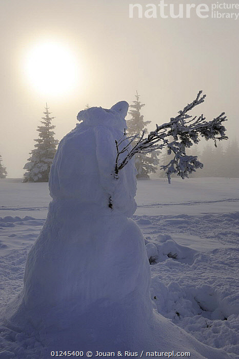 Snowman on Hauts Fourneaux, Ballon des Vosges Nature Park, Vosges, Lorraine, France, January 2009, CLOUDS,EUROPE,FRANCE,LANDSCAPES,RESERVE,SNOW,SNOWMEN,SUN,TREES,VERTICAL,WINTER,Weather,PLANTS, Jouan & Rius