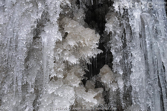 Close-up of a frozen waterfall, Ballon des Vosges Nature Park, Vosges, Lorraine, France, December 2008, CLOSE UPS,EUROPE,FRANCE,ICE,ICICLES,LANDSCAPES,RESERVE,WATERFALLS,WINTER, Jouan & Rius