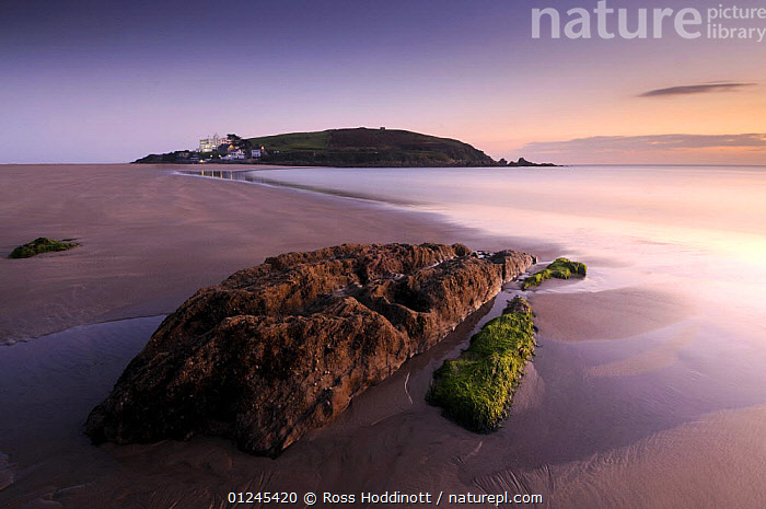 Burgh Island with Burgh Island hotel in evening light at low tide, from Bigbury Bay, South Devon, UK, September 2009, ATMOSPHERIC,BEACHES,BUILDINGS,CALM,COASTS,EUROPE,ISLANDS,LANDSCAPES,LOW TIDE,PEACEFUL,ROCKS,TIDAL,UK,Concepts, United Kingdom, United Kingdom, Ross Hoddinott