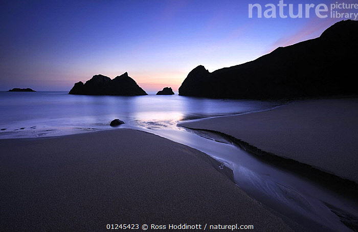 Soar Mill Cove, late evening light, near Salcombe, South Devon, UK, September 2009, BLUE,CLIFFS,COASTS,DUSK,EUROPE,GEOLOGY,LANDSCAPES,RIVERS,ROCKS,SEA,SILHOUETTES,UK, United Kingdom, United Kingdom, Ross Hoddinott