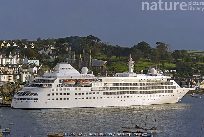 "Cruise ship ""Silver Cloud"" entering Fowey harbour in the early morning, Cornwall, UK. September 2009., COASTS,CORNWALL,CRUISE LINERS ,ENGLAND,EUROPE,HARBOURS,RIVERS,TOWNS,UK,BOATS, United Kingdom, United Kingdom, Rob Cousins"