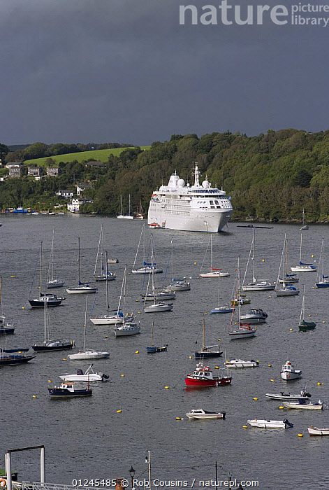 "Cruise ship ""Silver Cloud"" moored in Fowey harbour, Cornwall, UK. September 2009., COASTS,CORNWALL,CRUISE LINERS ,ENGLAND,EUROPE,HARBOURS,MIXED BOATS,MOORED,RIVERS,TOWNS,UK,VERTICAL,BOATS, United Kingdom, United Kingdom, Rob Cousins"