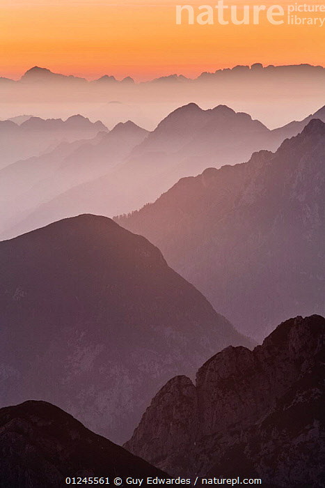 The Julian Alps at sunset, looking north into Italy from Mangrt at 2500m, Triglav National Park, Gorenjska, Slovenia, October 2008, EUROPE,LANDSCAPES,MIST,MOUNTAINS,NP,RESERVE,VERTICAL,National Park,Catalogue1, Guy Edwardes