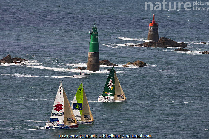 Fleet departing Saint Malo, Tour de Bretagne, September 2009., AERIALS,BRITTANY,EUROPE,FIGARO B�N�TEAU 2,FIGARO BENETEAU II,FIGAROS,FRANCE,MARKERS,PORT STARBOARD ,RACES,RACING,ROCKS,SAILING BOATS,THREE,YACHTS,BOATS,SAILING-BOATS,NAVIGATION, Benoit Stichelbaut