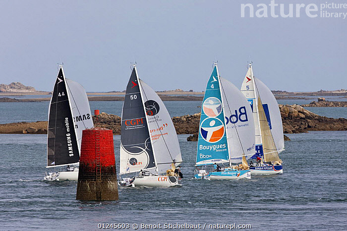 Fleet in the passage de Br�hat, Saint-Quay-Portrieux / Perros Guirec, during the Tour de Bretagne, September 2009., BRITTANY,COASTS,EUROPE,FIGARO B�N�TEAU 2,FIGARO BENETEAU II,FIGAROS,FLEETS,FRANCE,MARKERS,PORT,RACES,RACING,SAILING BOATS,YACHTS,BOATS,SAILING-BOATS,NAVIGATION, Benoit Stichelbaut