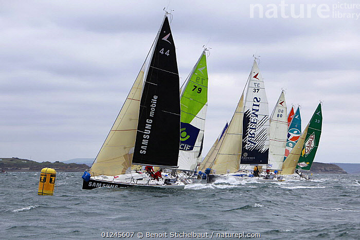 Fleet passing a mark near Brest during the Tour de Bretagne, September 2009., BRITTANY,BUOYS,CHOPPY,COASTS,EUROPE,FIGARO B�N�TEAU 2,FIGARO BENETEAU II,FIGAROS,FLEETS,FRANCE,MARKERS,PROFILE,RACES,RACING,SAILING BOATS,YACHTS,BOATS,SAILING-BOATS,NAVIGATION, Benoit Stichelbaut