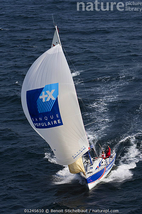 """""""Banque Populaire"""" (Gildas Mahe and Vincent Biarnes) on the Brest/Piriac leg, in the Passage du Raz de Sein, during the Tour de Bretagne, September 2009., AERIALS,BRITTANY,EUROPE,FIGARO B�N�TEAU 2,FIGARO BENETEAU II,FIGAROS,FRANCE,FRONT VIEWS,RACES,SAILING BOATS,SPINNAKERS,VERTICAL,YACHTS,BOATS,SAILING-BOATS,SAILS, Benoit Stichelbaut"""