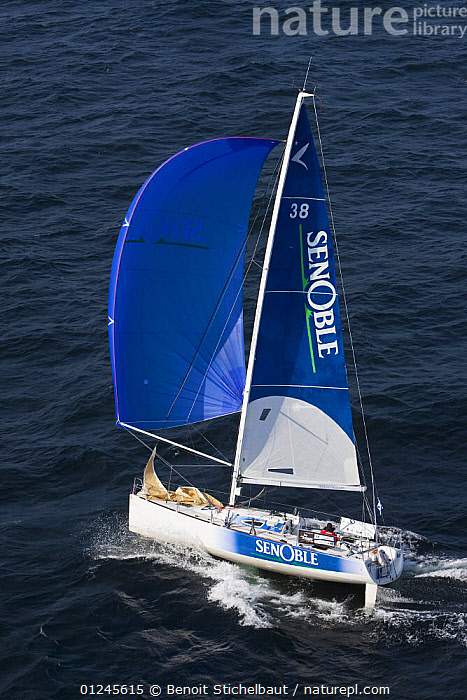 """Senoble"" (Arnaud Godart Philippe and Yannick Le Clech) on the Brest/Piriac leg, in the Passage du Raz de Sein, during the Tour de Bretagne, September 2009., AERIALS,BLUE,BRITTANY,EUROPE,FIGARO B�N�TEAU 2,FIGARO BENETEAU II,FIGAROS,FRANCE,RACES,SAILING BOATS,SPINNAKERS,VERTICAL,YACHTS,BOATS,SAILING-BOATS,SAILS, Benoit Stichelbaut"