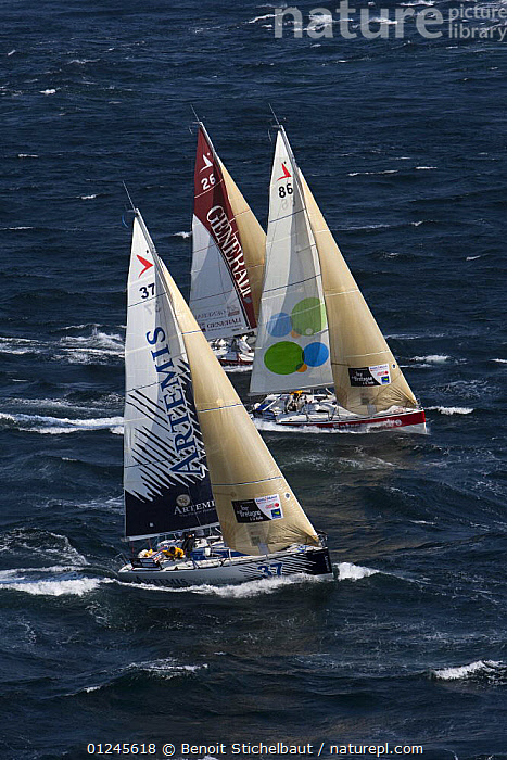 Yachts off Raz De Sein, Finistere, Brittany, during the Tour de Bretagne, September 2009., AERIALS,BRITTANY,CHOPPY,EUROPE,FIGARO B�N�TEAU 2,FIGARO BENETEAU II,FIGAROS,FINIST�RE,FRANCE,RACES,RACING,SAILING BOATS,THREE,VERTICAL,YACHTS,BOATS,SAILING-BOATS, Benoit Stichelbaut