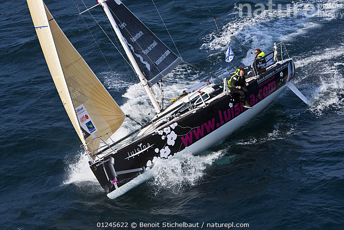 """Luisina"" (Eric Drouglazet and Laurent Pellecuer) off Raz De Sein, Finistere, Brittany, during the Tour de Bretagne, September 2009., AERIALS,ANGLES,BRITTANY,EUROPE,FIGARO B�N�TEAU 2,FIGARO BENETEAU II,FIGAROS,FINIST�RE,FRANCE,HEELING,RACES,SAILING BOATS,YACHTS,BOATS,SAILING-BOATS, Benoit Stichelbaut"
