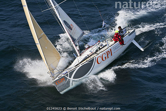 """""""CGPI"""" (Nicolas Lunven and Jean Le Cam) off Raz De Sein, Finistere, Brittany, during the Tour de Bretagne, September 2009., AERIALS,BRITTANY,EUROPE,FIGARO B�N�TEAU 2,FIGARO BENETEAU II,FIGAROS,FINIST�RE,FRANCE,HEELING,HIKING OUT,RACES,SAILING BOATS,YACHTS,BOATS,SAILING-BOATS,PROCEDURES, Benoit Stichelbaut"""