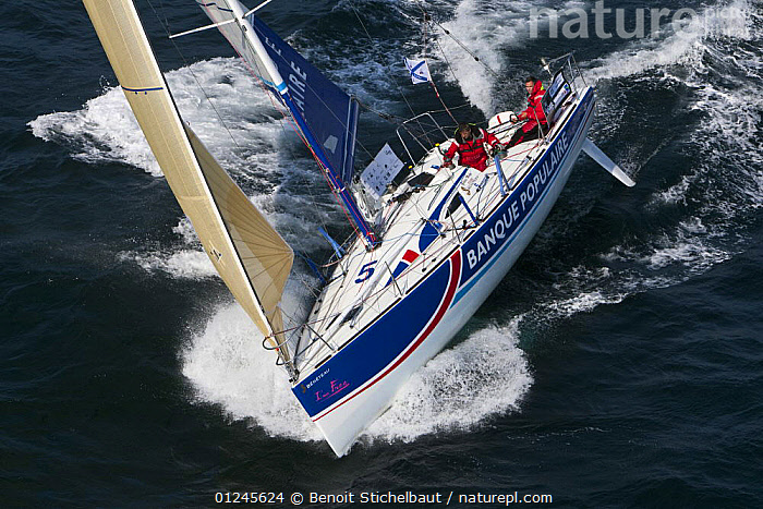 """""""Banque Populaire"""" (Gildas Mahe and Vincent Biarnes) off Raz De Sein, Finistere, Brittany, during the Tour de Bretagne, September 2009., AERIALS,BRITTANY,EUROPE,FIGARO B�N�TEAU 2,FIGARO BENETEAU II,FIGAROS,FINIST�RE,FRANCE,HEELING,RACES,SAILING BOATS,YACHTS,BOATS,SAILING-BOATS, Benoit Stichelbaut"""