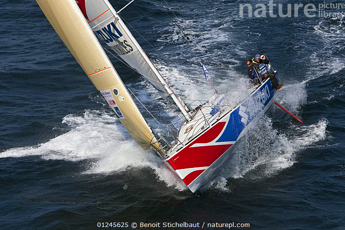"""""""Suzuki Automobiles"""" (Thierry Chabagny and Alexis Littoz) off Raz De Sein, Finistere, Brittany, during the Tour de Bretagne, September 2009., AERIALS,BRITTANY,CHOPPY,EUROPE,FIGARO B�N�TEAU 2,FIGARO BENETEAU II,FIGAROS,FINIST�RE,FRANCE,HEELING,RACES,SAILING BOATS,SPLASHES,SPRAY,YACHTS,BOATS,SAILING-BOATS, Benoit Stichelbaut"""