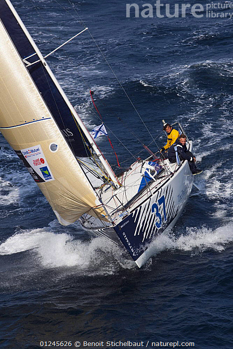 """Artemis Ocean Racing"" (Jonny Malbon and Nick Bubb) off Raz De Sein, Finistere, Brittany, during the Tour de Bretagne, September 2009., AERIALS,BRITTANY,EUROPE,FIGARO B�N�TEAU 2,FIGARO BENETEAU II,FIGAROS,FINIST�RE,FRANCE,FRONT VIEWS,HIKING OUT,RACES,SAILING BOATS,VERTICAL,YACHTS,BOATS,SAILING-BOATS,PROCEDURES, Benoit Stichelbaut"
