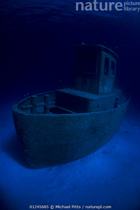 Wreck of tugboat ''Blue Plunder'' at night off Nassau, Bahamas. January 2008.  ,  BLUE,BOATS,CARIBBEAN,SEA BED,TROPICAL,TUGS,UNDERWATER,VERTICAL,WEST INDIES,WRECKS, WORKING-BOATS , WORKING-BOATS , WORKING-BOATS , WORKING-BOATS ,Catalogue1  ,  Michael Pitts