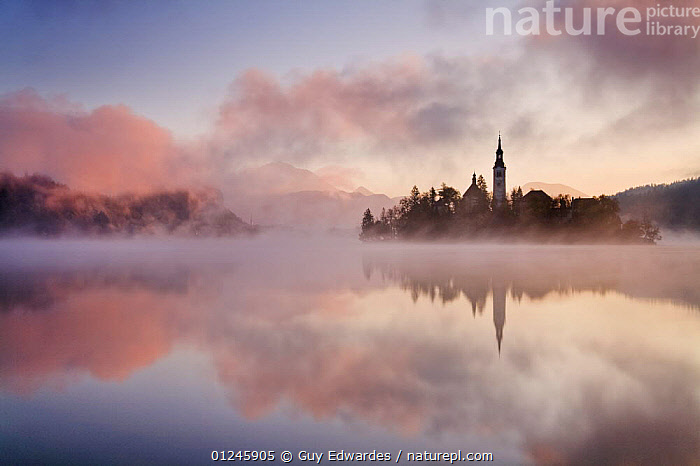 Lake Bled at sunrise with Bled Island and the Assumption of Mary's Pilgrimage Church, Bled, Gorenjska, Slovenia, October 2007  ,  ATMOSPHERIC,CALM,CHURCHES,DAWN,EUROPE,LAKES,LANDSCAPES,MIST,MOUNTAINS,PEACEFUL,PINK,REFLECTIONS,SLOVENIA,WATER,WEATHER ,Concepts  ,  Guy Edwardes