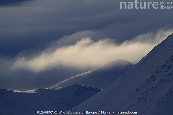 Low clouds over snow covered hills, Dovrefjell National Park, Norway, February 2009, CLOUDS,EUROPE,LANDSCAPES,MOUNTAINS,NORWAY,NP,RESERVE,SCANDINAVIA,SNOW,TUNDRA,vincent munier,WWE,Weather, Scandinavia,National Park, Wild Wonders of Europe / Munier