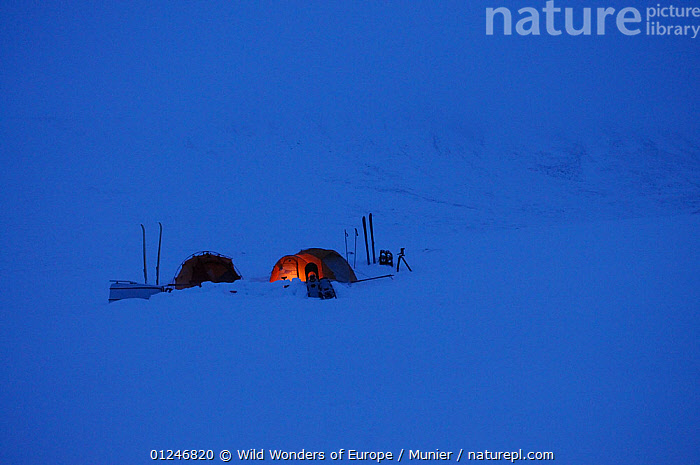 Photographers camp, Dovrefjell National Park, Norway, February 2009  ,  CAMPING,EUROPE,LANDSCAPES,NORWAY,NP,RESERVE,SCANDINAVIA,SNOW,tents,TUNDRA,vincent munier,WWE, Scandinavia,National Park  ,  Wild Wonders of Europe / Munier