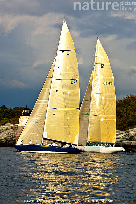 Yachts sailing near the Castle Hill lighthouse, 12 Metre World Championships, Newport, Rhode Island, USA. September 2009.  ,  12 METERS,12 METRES,CALM,COASTS,LIGHTHOUSES,METER,NORTH AMERICA,PROFILE,RACES,SAILING BOATS,TWO,USA,VERTICAL,YACHTS,BOATS,SAILING-BOATS,BUILDINGS ,core collection xtwox  ,  Onne van der Wal