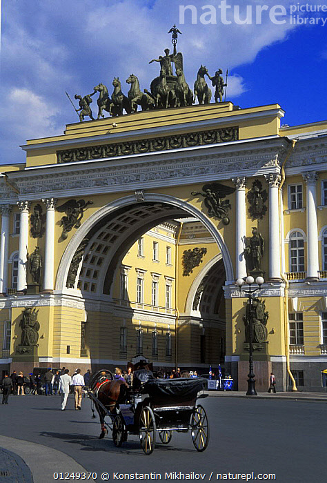 Tourist carriage waiting in Dvortsovays Square (Winter Palace Square), City of St. Petersburg, Russia, June 2007  ,  ARCH,BUILDINGS,CITIES,EUROPE,HORSE,HORSES,LANDSCAPES,PEOPLE,RUSSIA,STATUES,TOURISM,VERTICAL  ,  Konstantin Mikhailov