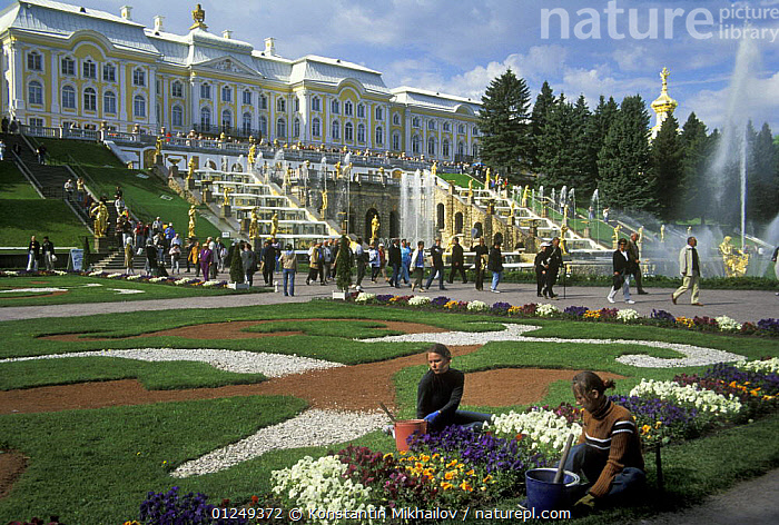 The Grand Cascade of fountains and Park at Peterhof / Petergof Palace, Petergoff (Petrodvorets), St Petersburg, Russia, June 2007  ,  BUILDINGS,CITIES,EUROPE,FLOWERS,GARDENS,HISTORICAL,LANDSCAPES,PEOPLE,RUSSIA,SUMMER,TOURISM,WATER  ,  Konstantin Mikhailov
