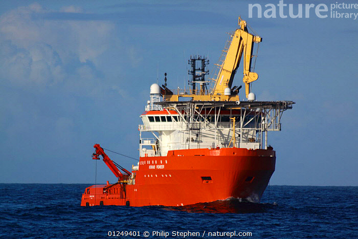 """Dive support vessel """"Normand Pioneer"""" on the North Sea, September 2009.  ,  BOATS,CRANES,EUROPE,FRONT VIEWS,merchant navy,North Sea,ship,ships  ,  Philip Stephen"""