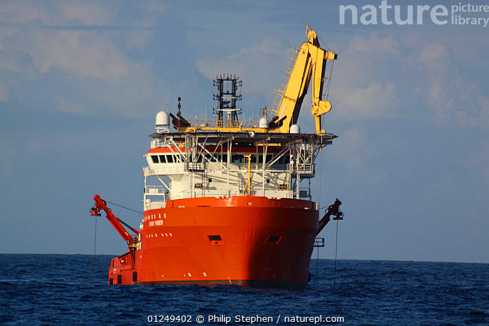 "Dive support vessel ""Normand Pioneer"" undertaking subsea operations on the North Sea, September  2009.  ,  BOATS,CRANES,EUROPE,FRONT VIEWS,merchant navy,North Sea,ship,ships,undersea  ,  Philip Stephen"