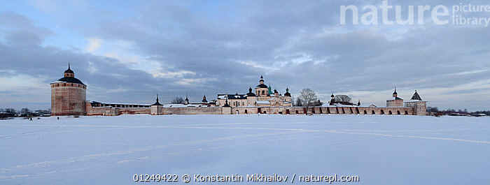 "Kirillo-Belozersky Monastery (founded by Sain Kirill of Belozero in XIV century) on the shore of Siverskoe lake. Vologda Province of the Russia North.  Russia Federal Heritage site.   National Park ""Russikiy Sever"" (Russian North).