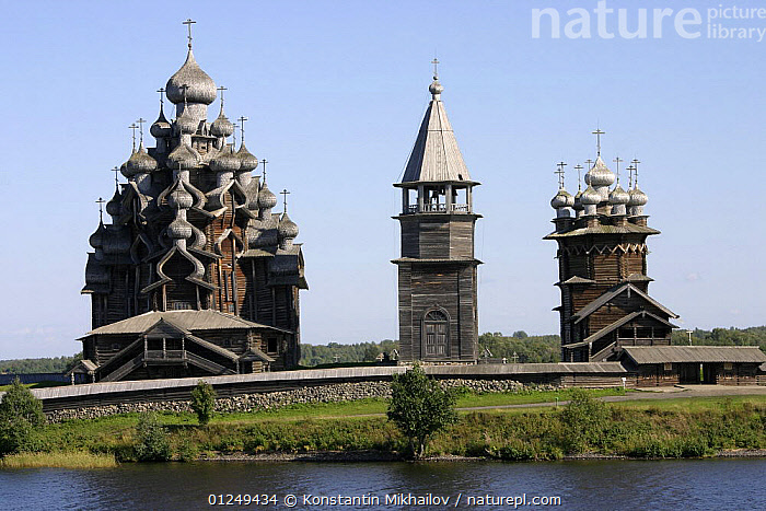 Wooden churches on Kizhi Island in Lake Onega, Karelia, N Russia, September 2007. Transfiguration church (on the left) and Intercession church (on the right)  ,  CHURCHES,EUROPE,HISTORICAL,LAKES,LANDSCAPES,RUSSIA,THREE,WOODEN  ,  Konstantin Mikhailov