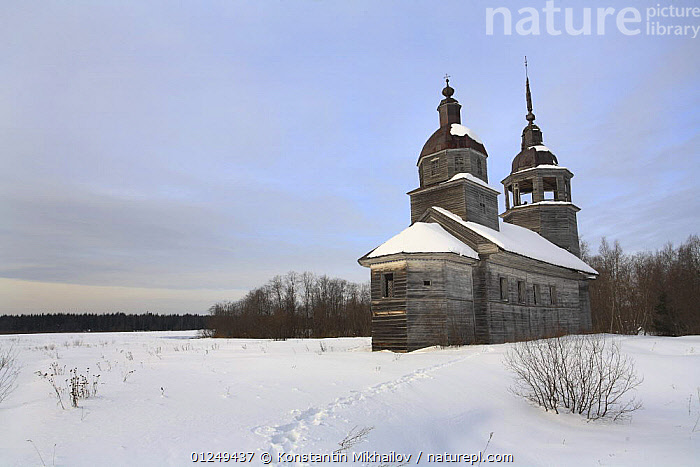 Snow covered wooden church in traditional Russian village of Chistyi Dor, Russky Sever NP, Vologda Province, Russia, March 2009  ,  BUILDINGS,CHURCHES,EUROPE,LANDSCAPES,RESERVE,RUSSIA,SNOW,WINTER  ,  Konstantin Mikhailov