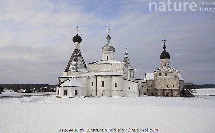 Winter landscape with Ferapontov Monastery, founded by Sain Ferapont in 1398, Russky Sever NP, Vologda Province, Russia, March 2009  ,  BUILDINGS,CHURCHES,EUROPE,LANDSCAPES,RUSSIA,WINTER  ,  Konstantin Mikhailov