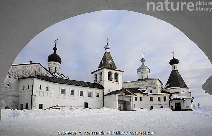 Ferapontov Monastery, founded by Sain Ferapont in 1398, Russky Sever NP, Vologda Province, Russia, March 2009  ,  ARCH,ARCHES,BUILDINGS,CHURCHES,EUROPE,LANDSCAPES,RUSSIA,SNOW,WINTER  ,  Konstantin Mikhailov