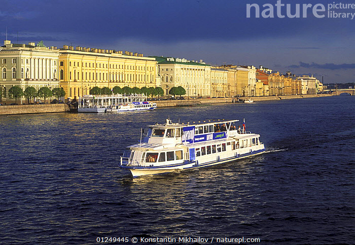 Tourist boat on the River Neva, City of St.Petersburg, June 2007  ,  BOATS,BUILDINGS,CITIES,EUROPE,LANDSCAPES,PASSENGER FERRIES,RIVERS,RUSSIA,TOURISM, WORKING-BOATS ,CIS, WORKING-BOATS  ,  Konstantin Mikhailov