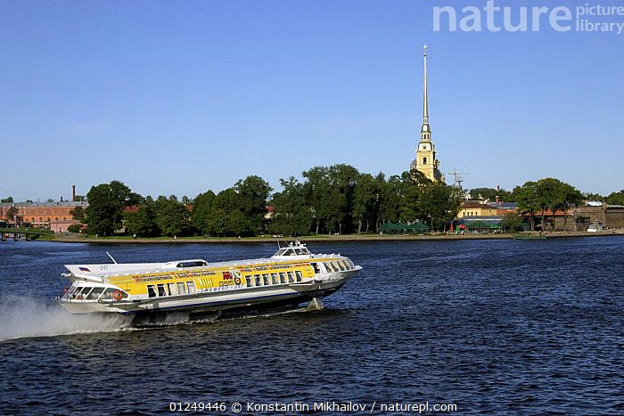 Tourist boat on the River Neva with Petropavlovskaya Fortress in the background, City of St. Petersburg, June 2007  ,  BOATS,BUILDINGS,CITIES,EUROPE,HYDROFOILS,LANDSCAPES,PASSENGER FERRIES,RIVERS,RUSSIA,TOURISM, WORKING-BOATS ,CIS, WORKING-BOATS  ,  Konstantin Mikhailov
