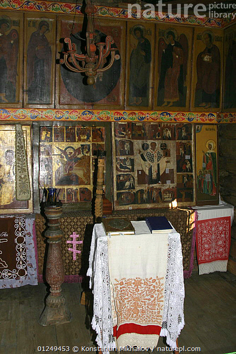 Interior of a traditional wooden church with icons and wooden panelling, on Kizhi Island in Lake Onega, Karelia, N Russia, June 2007.  ,  BUILDINGS,CHURCHES,EUROPE,INDOORS,RUSSIA,TRADITIONAL,VERTICAL,WOODEN  ,  Konstantin Mikhailov