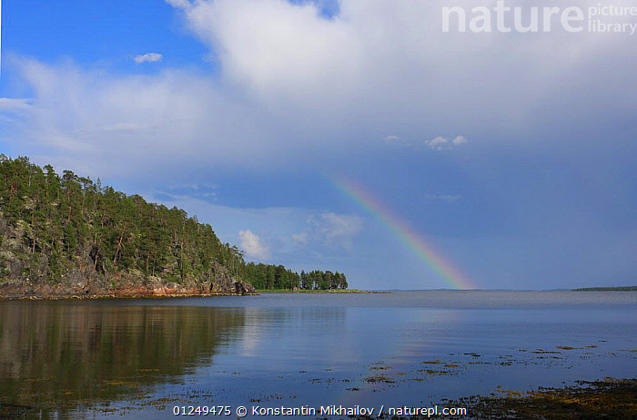 Coastal inlet of the White Sea, Keralia, N Russia, July 2009  ,  COASTS,EUROPE,LANDSCAPES,RAINBOWS,RUSSIA,Weather,CIS  ,  Konstantin Mikhailov