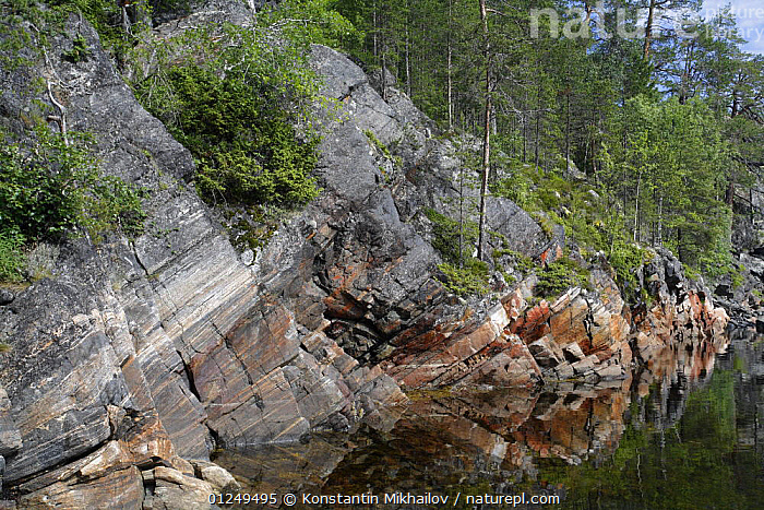 Rocky shore of an inlet of the White Sea, Karelia, N Russia, July 2009  ,  CLIFFS,COASTS,EUROPE,LANDSCAPES,ROCKS,RUSSIA,Geology  ,  Konstantin Mikhailov