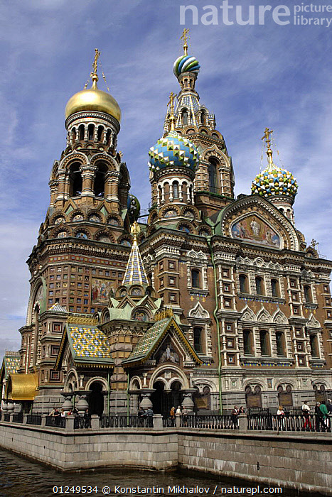The Church of the Savior on Blood, built on the site where Emperor Alexander II was mortally wounded in 1881. City of St. Petersburg, Russia. June 2007  ,  BUILDINGS,CHURCHES,CITIES,EUROPE,LANDSCAPES,RIVERS,RUSSIA,VERTICAL  ,  Konstantin Mikhailov