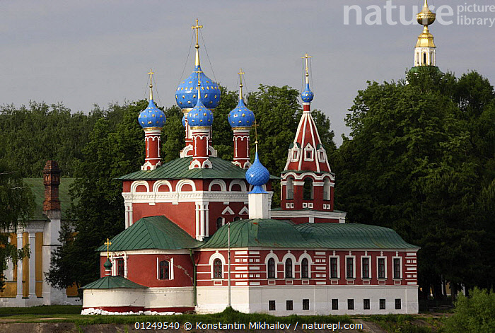 Church of the Blood of Prince Dimitry with onion domes (built in 1692) Uglich, Yaroslavl Oblast, Russia, June 2007  ,  BUILDINGS,CHURCHES,CITIES,EUROPE,HISTORICAL,RUSSIA  ,  Konstantin Mikhailov