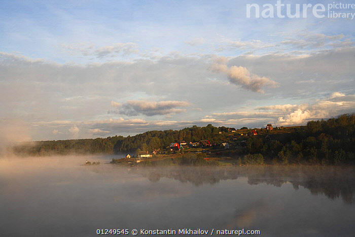 Sheksna river on the water way route from Moscow to St Petersburg, Vologda Oblast, September 2007  ,  ATMOSPHERIC,EUROPE,LANDSCAPES,MIST,RIVERS,RUSSIA,WEATHER ,CIS  ,  Konstantin Mikhailov