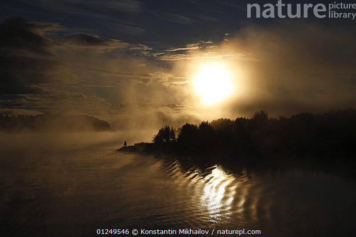 Full moon over the Sheksna river, on the water way route from Moscow to St Petersburg, Vologda Oblast, September 2007  ,  ATMOSPHERIC,EUROPE,LANDSCAPES,MOON,NIGHT,RIVERS,RUSSIA,CIS  ,  Konstantin Mikhailov